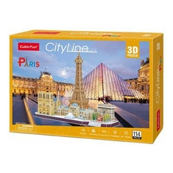 Пазли - Конструктор 3D Cubic Fun City line Paris (MC254h)