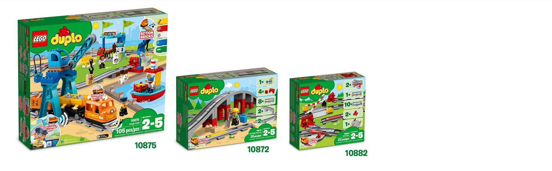 Поїзд і колії, що входять до комплекту, сумісні з існуючими поїздами LEGO® DUPLO®