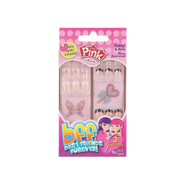 Купить Аксессуары для сюжетно-ролевых игр, Набор накладных ногтей Лучшая подруга навсегда Kiss Pink 28 шт (PBF03)
