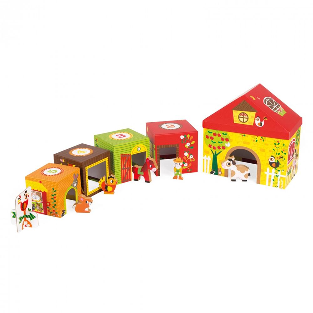 Купить Игрушки для самых маленьких, Игровой набор Janod Кубики Ферма (J02801)