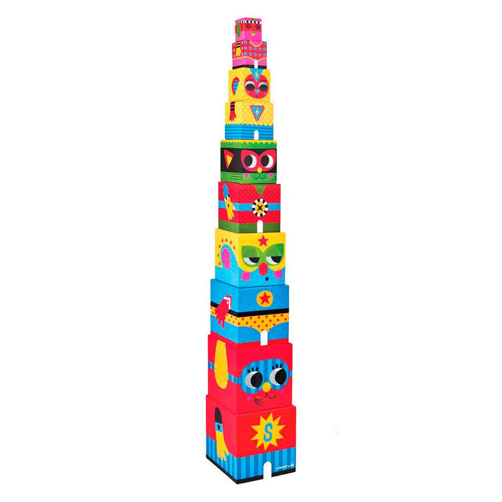 Купить Игрушки для самых маленьких, Развивающая игрушка Janod Пирамида-кубики Герои (J02830)