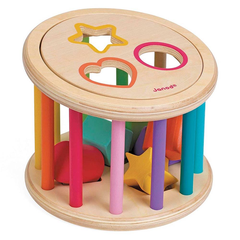 Купить Игрушки для самых маленьких, Развивающая игрушка Janod Сортер-пирамидка Барабан с формами (J05336)