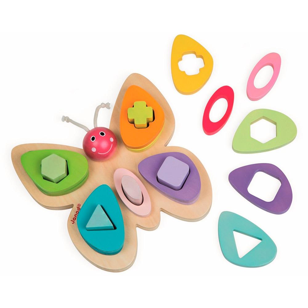 Купить Игрушки для самых маленьких, Развивающая игрушка Janod Сортер-пирамидка Бабочка (J05341)
