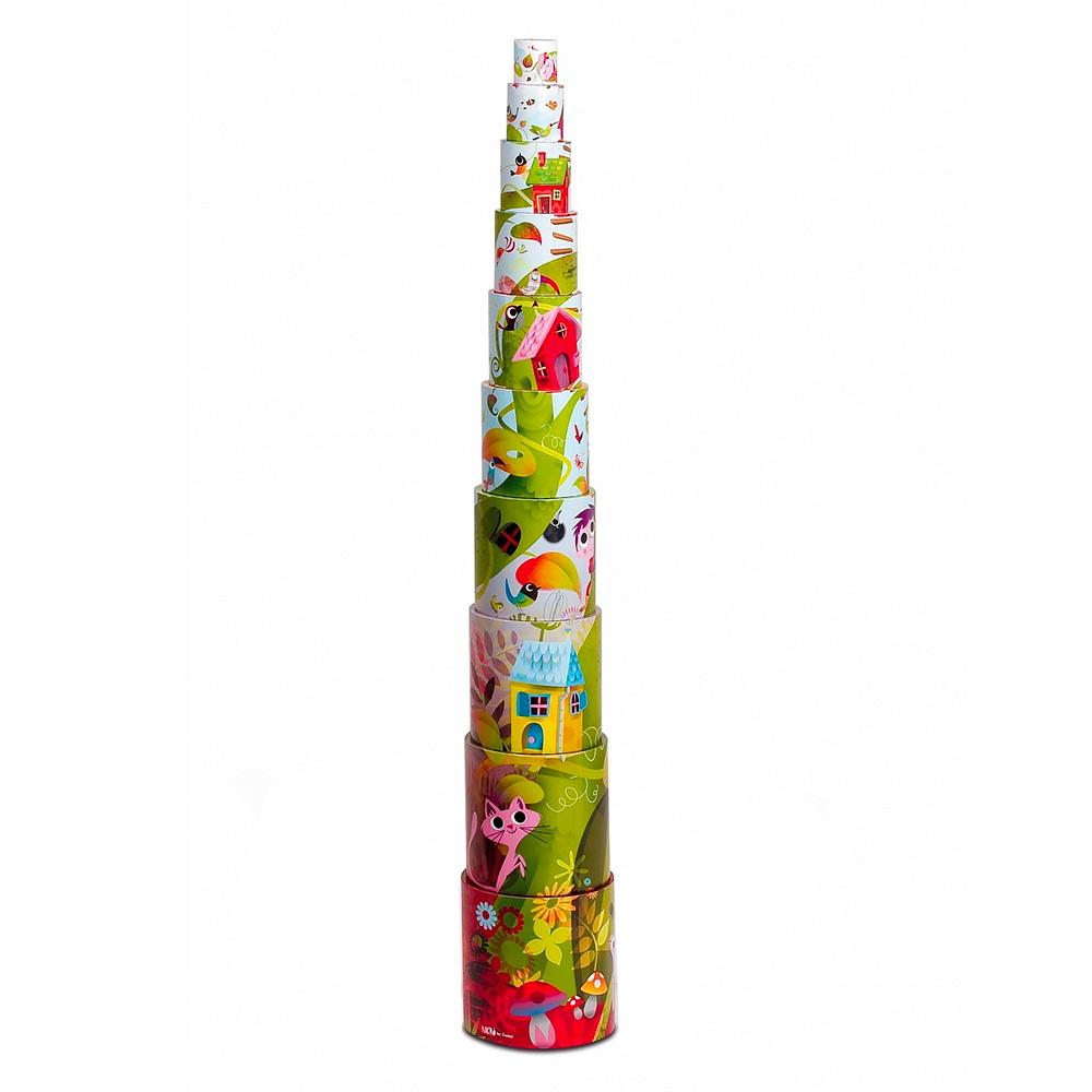 Купить Игрушки для самых маленьких, Развивающая игрушка Janod Пирамида-кубики Волшебное дерево (J02918)