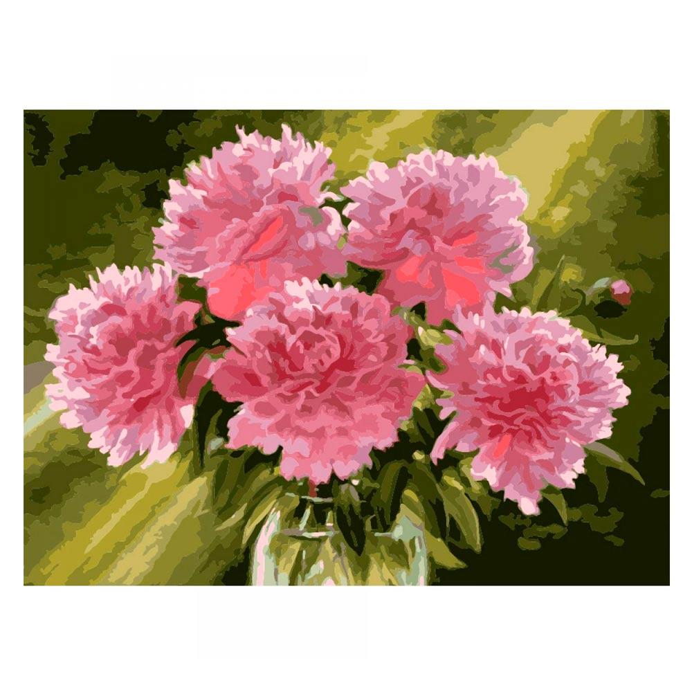 Набор для рисования Розовые пионы в вазе Идейка (КН1119)