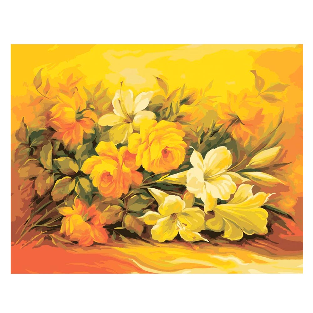 Купить Наборы для творчества и рукоделия, Картина по номерам Букет в желтом цвете Идейка (КН2037)