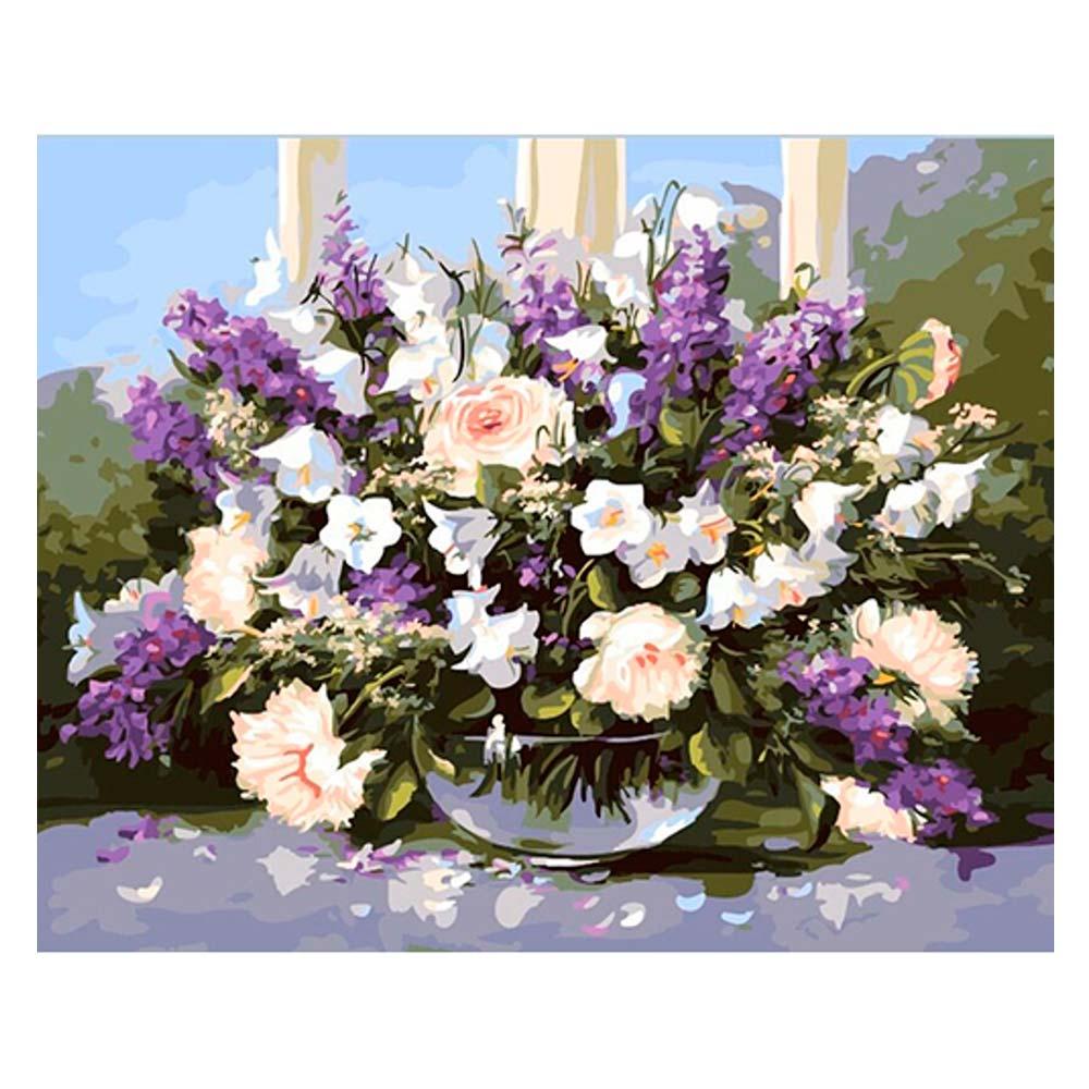 Купить Наборы для творчества и рукоделия, Картина по номерам Большой букет в стеклянной вазе Идейка (КН1050)