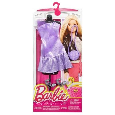 Одяг та аксесуари для ляльок - Ігровий набір одягу Коротке фіолетову сукню  Barbie (CFX92   0df976f9ca5be