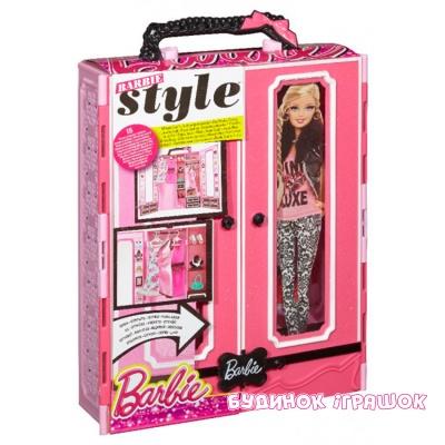 игровой набор шкаф чемодан для одежды Barbie классика Bmb99