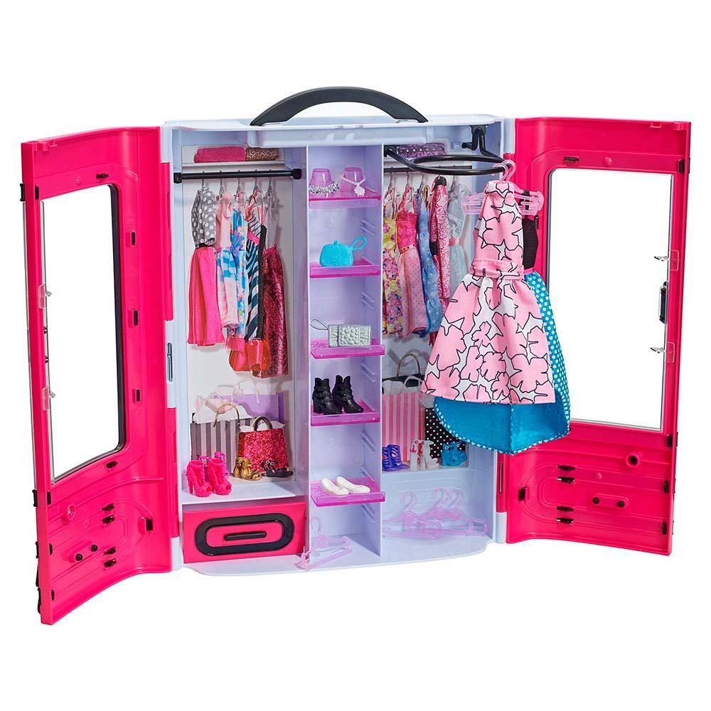 игровой набор шкаф чемодан для одежды стильный Barbie Dmt57
