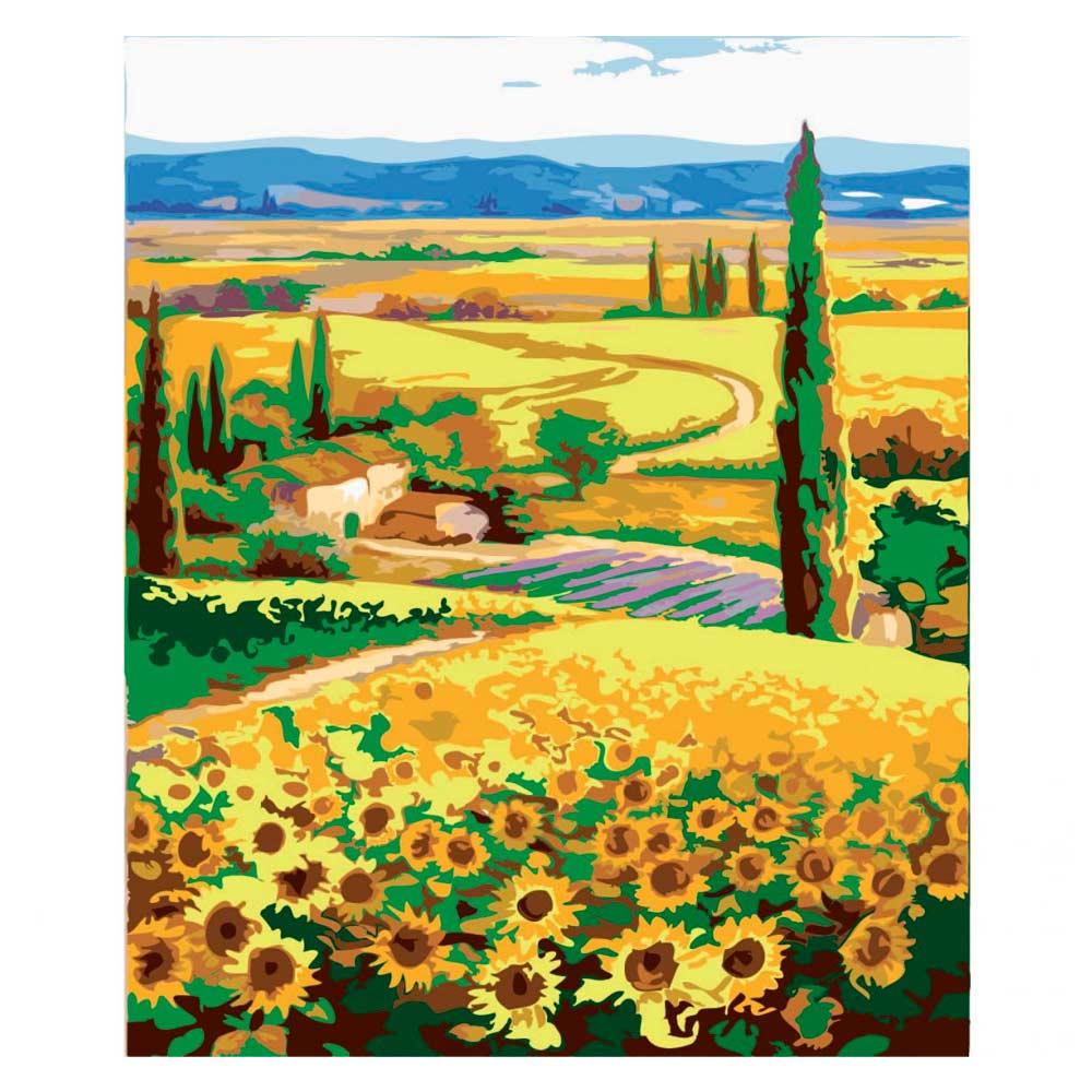 Наборы для творчества и рукоделия, Картина по номерам Сельский пейзаж Родные поля Идейка (КН2203)  - купить со скидкой