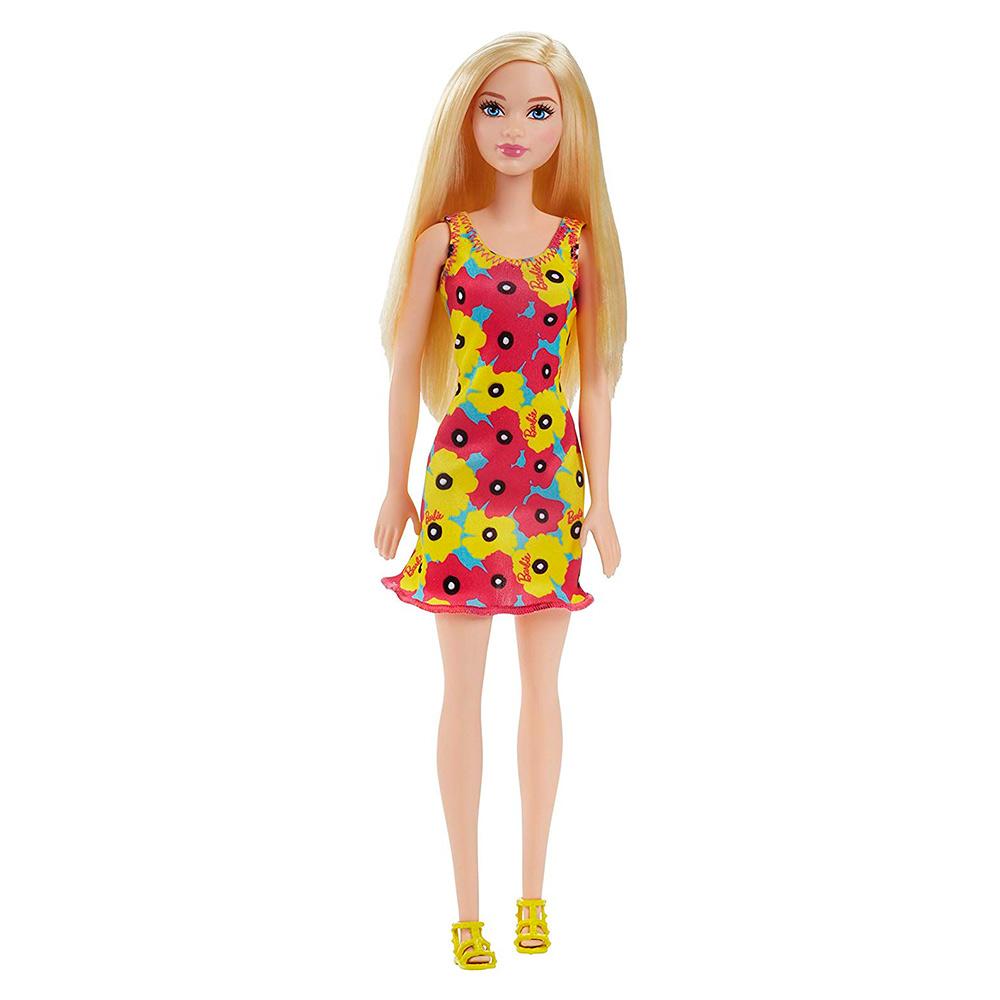 Модельні ляльки - Модна лялька в плаття з червоними і жовтими квітами Barbie  Супер стиль ( 0a98237ccc098