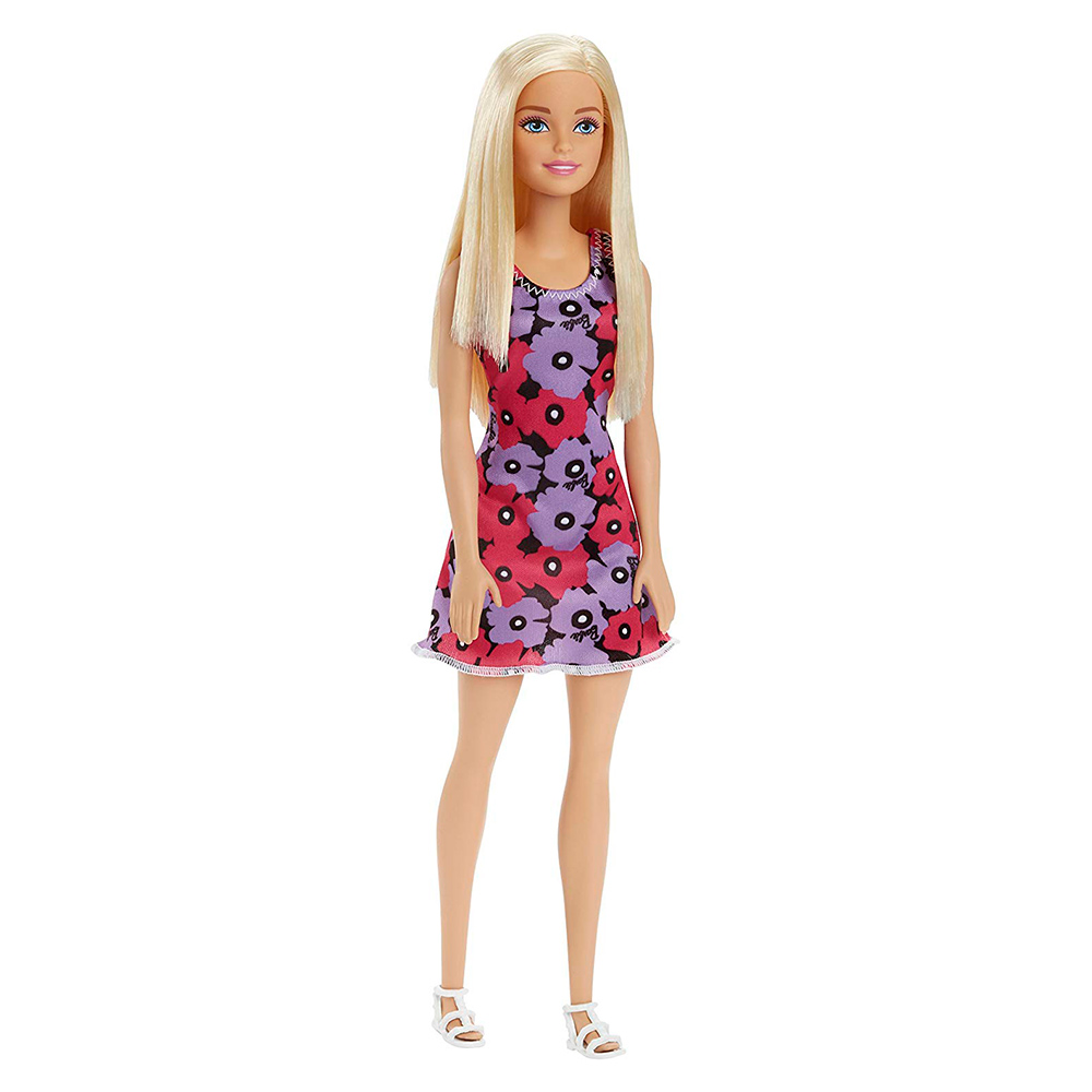 Модельні ляльки - Модна лялька плаття в рожевий і фіолетовий квітка Barbie  Супер стиль (T7439 fb63cff9872c9