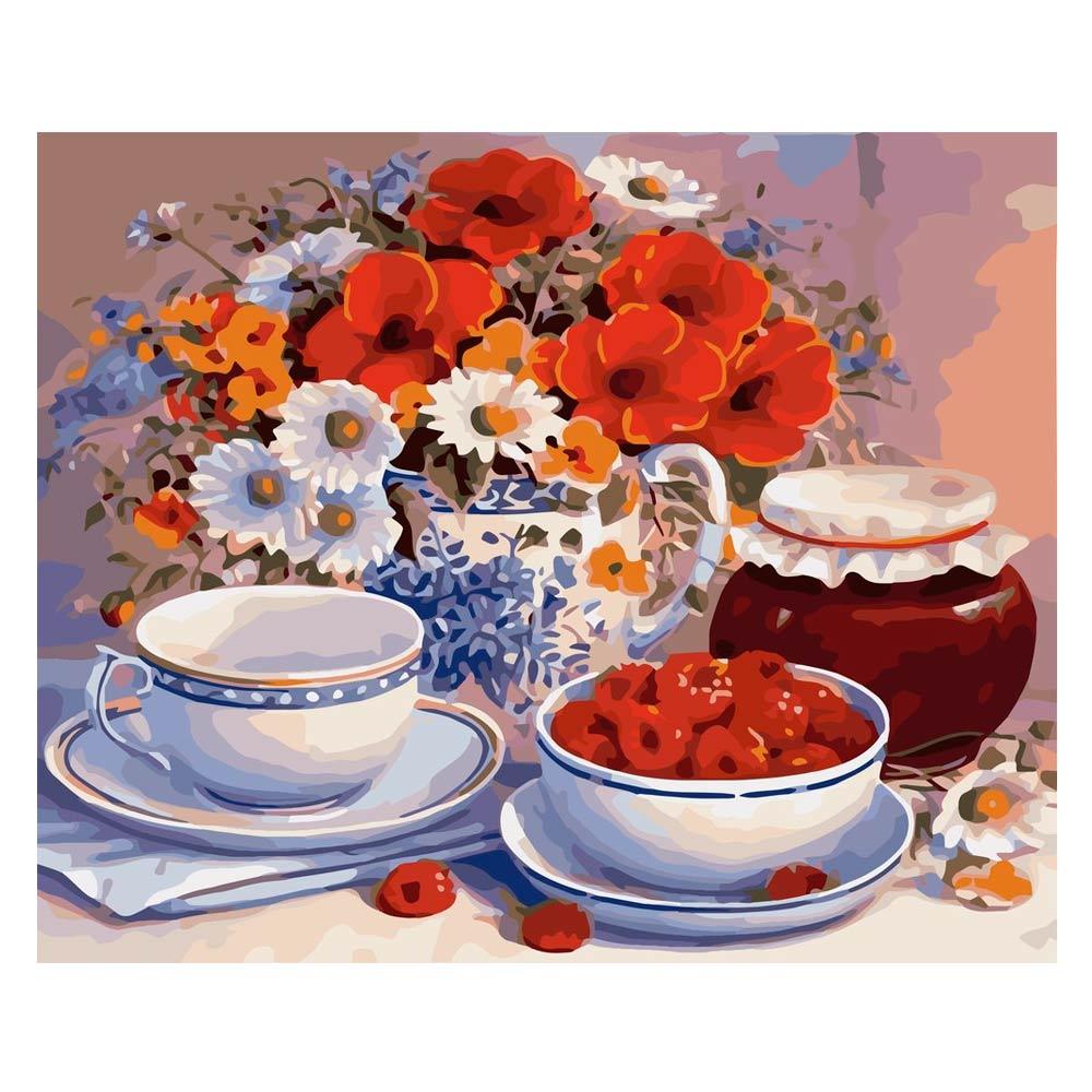 Купить Наборы для творчества и рукоделия, Картина по номерам Букет Приглашение на чай Идейка (КН2029)