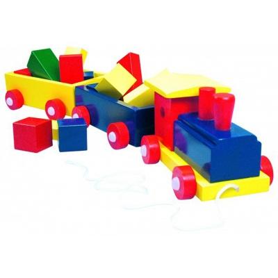 Деревянный паровоз с 2 вагонами и кубиками Bino (82141)