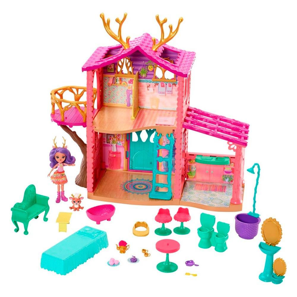 Купить Игровые наборы, Кукольный набор Enchantimals Лесной домик Оленицы Денисы (FRH50), Mattel