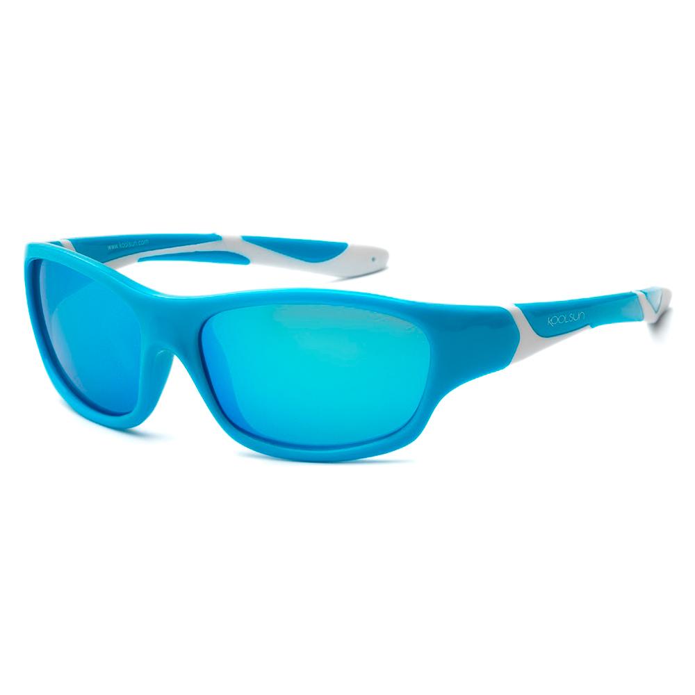 Купить Солнцезащитные очки Koolsun Sport бирюзово-белые до 12 лет (KS-SPBLSH006)