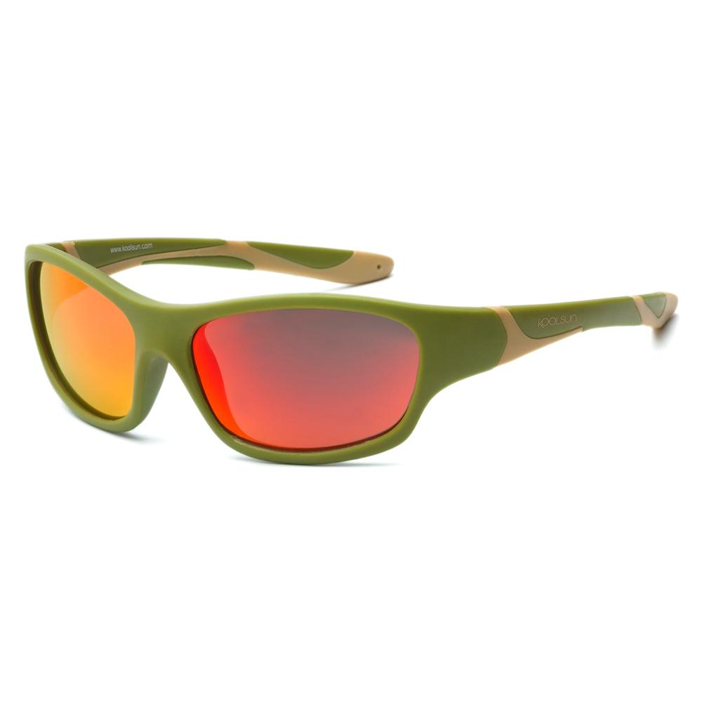 Купить Солнцезащитные очки Koolsun Sport цвета хаки до 12 лет (KS-SPOLBR006)