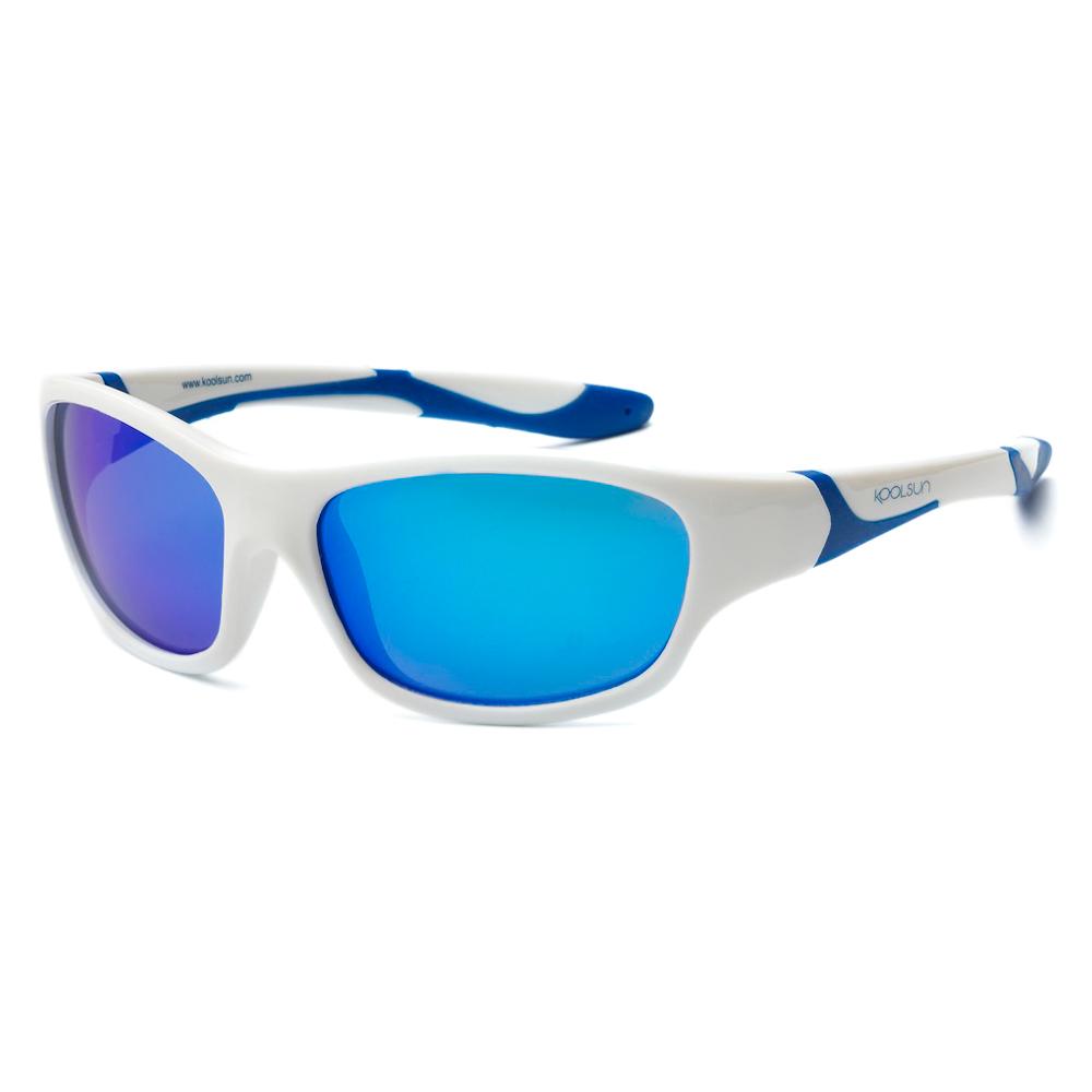 Купить Солнцезащитные очки Koolsun Sport бело-голубые до 12 лет (KS-SPWHSH006)