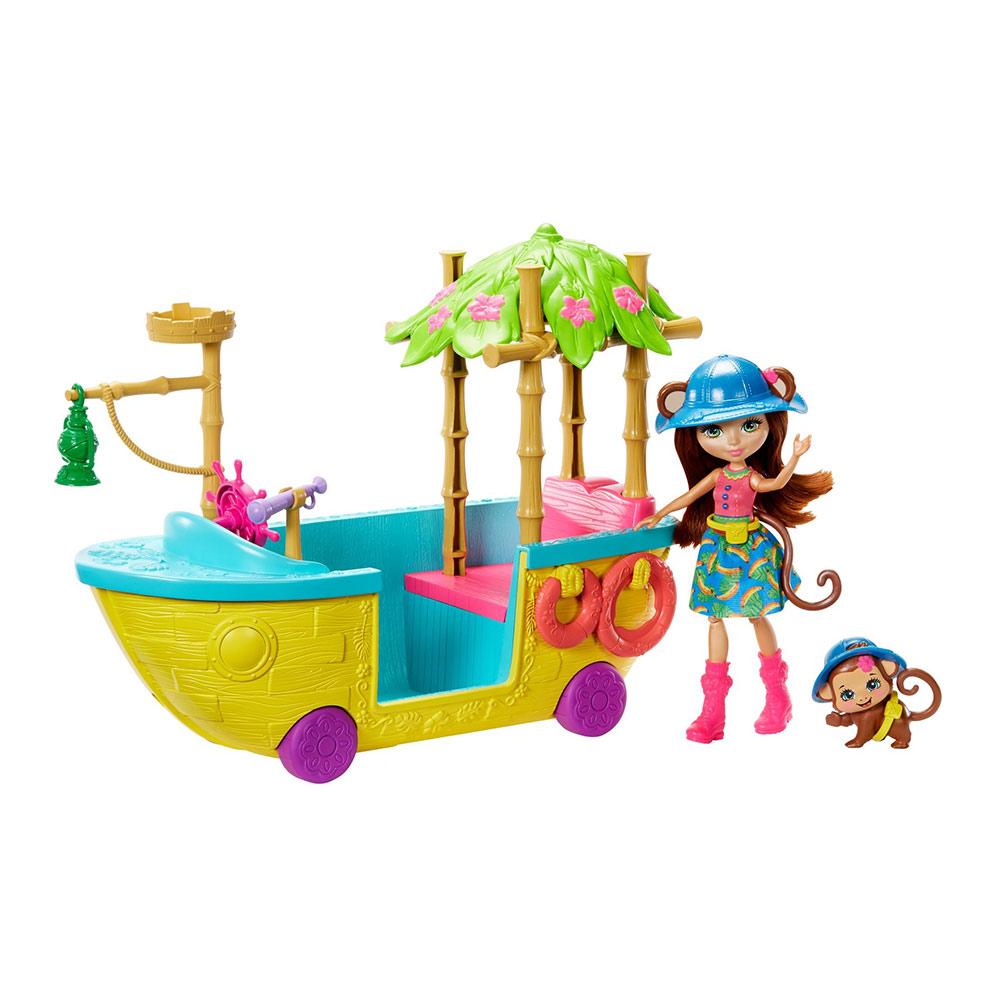 Купить Игровые наборы, Набор Enchantimals Лодка из Джунглолеса обезьянки Мерит (GFN58), Mattel