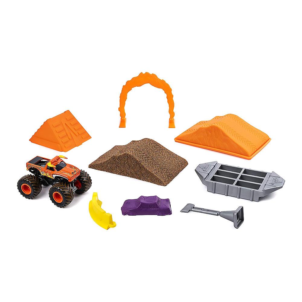 Купить Игрушечные машинки, техника, Набор Monster jam Monster dirt Сумасшедший бык делюкс с кинетическим песком 1:64 (6044986-2)