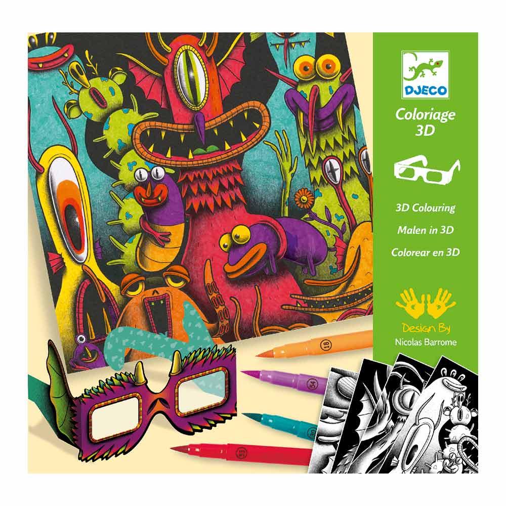 Купить Наборы для творчества и рукоделия, Набор для творчества DJECO Веселые монстры 3D эффект (DJ08651)