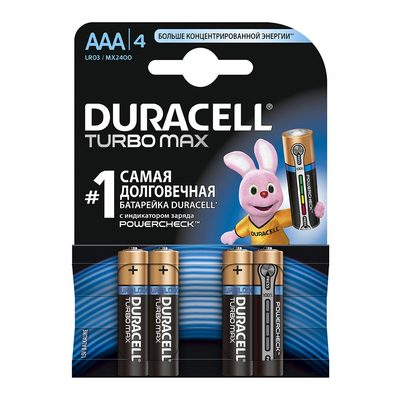 Батарейки - Батарейка алкалиновая Duracell Turbo Max АAA 1 5V LR03 1 шт (81546776)