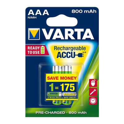 Батарейки - Аккумулятор VARTA Rechargeable accu AAA 800mAh BLI 2 NI-MH Ready 2 USE (56703101402)